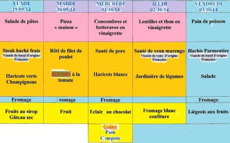 menu semaine 40