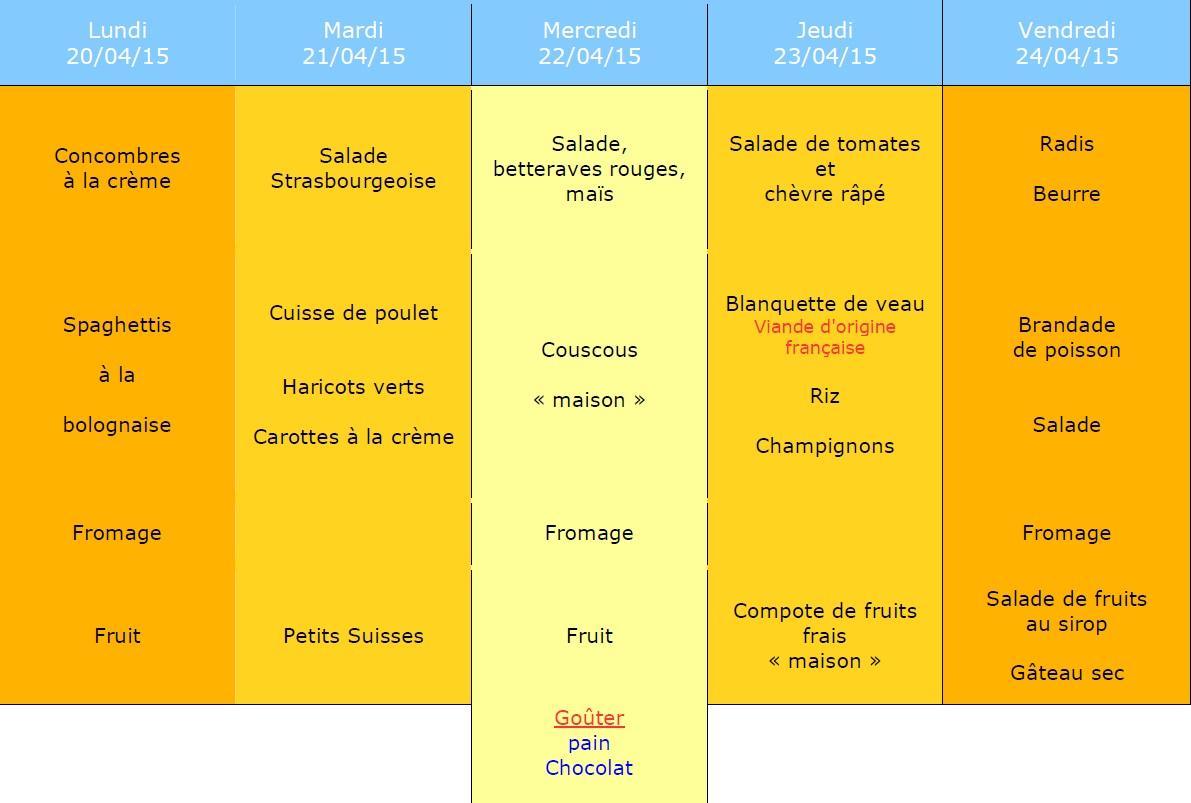 menu semaine 17