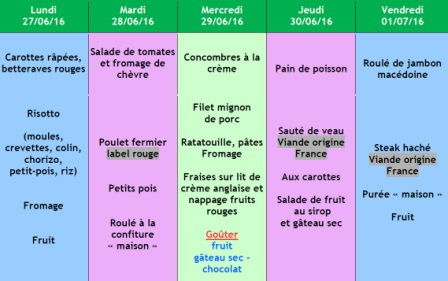 menu semaine 26