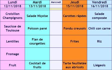menu semaine 46