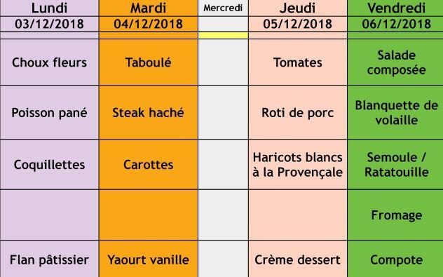 menu semaine 49