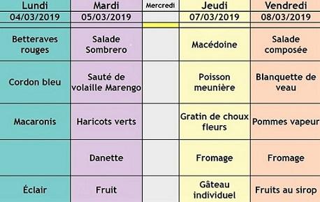 menu semaine 10