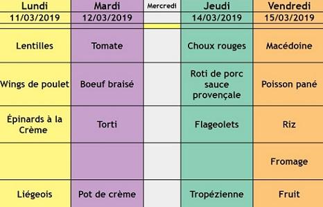 menu semaine 11